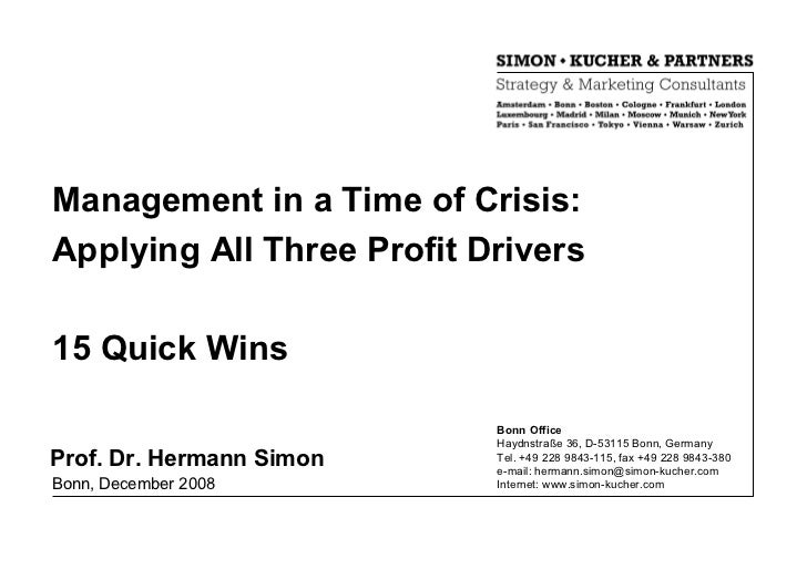 Management in a Time of Crisis:Applying All Three Profit Drivers15 Quick Wins                           Bonn Office       ...