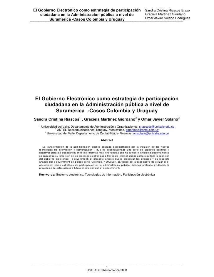 El Gobierno Electrónico como estrategia de participación Sandra Cristina Riascos Erazo      ciudadana en la Administración...