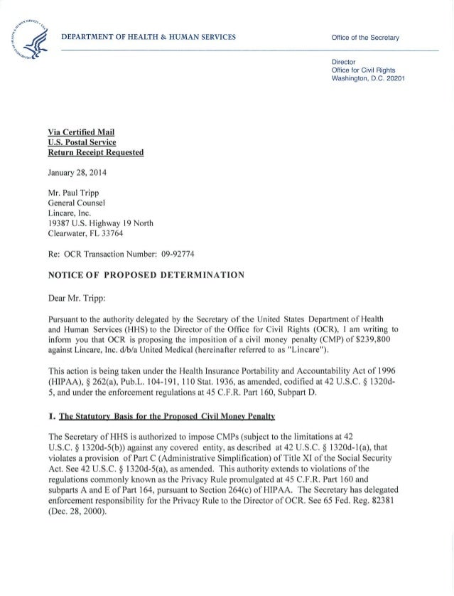 Lincare HIPAA Notice of Proposed Determination remediated