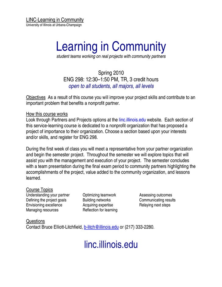 LINC-Learning in Community University of Illinois at Urbana-Champaign                           Learning in Community   ...