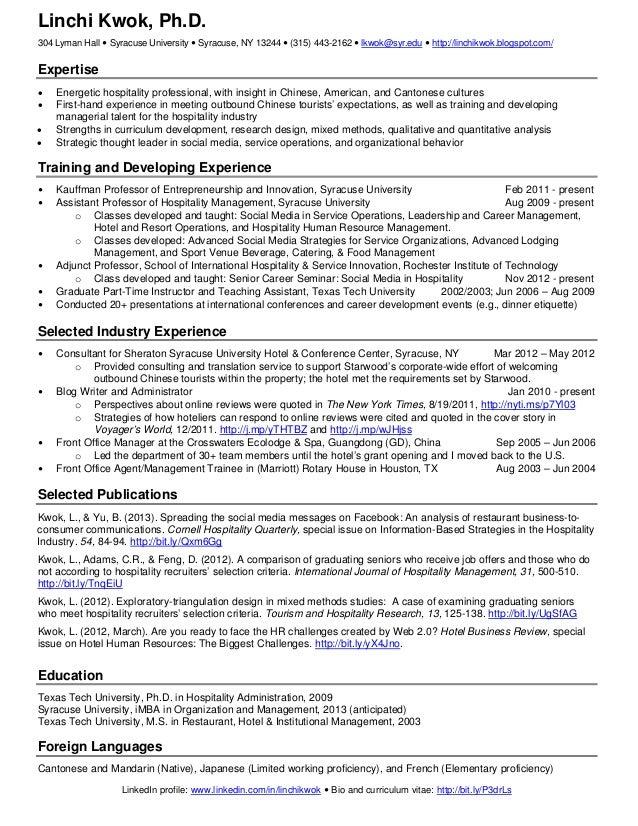 Linchi kwok one page resume