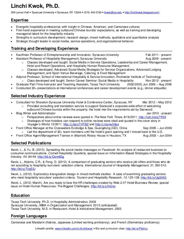 Amazing Linchi Kwok One Page Resume. Linchi Kwok, Ph.D.304 Lyman Hall  Syracuse  University  Syracuse,  1 Page Resume