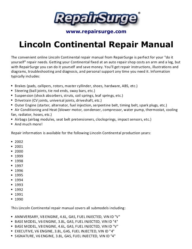 lincoln continental repair manual 1990 2002 rh slideshare net 1995 Lincoln Continental 1998 Lincoln Town Car