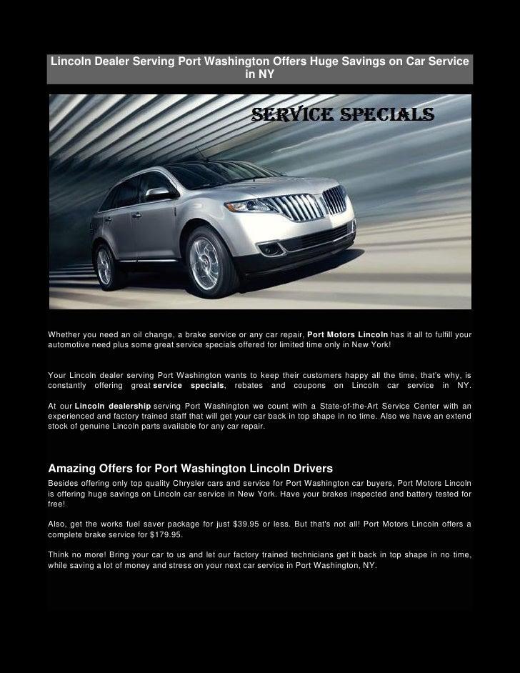 Wonderful Lincoln Dealer Serving Port Washington Offers Huge Savings On Car Service  ...