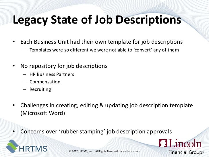 Managing Risk by Managing Job Descriptions The Lincoln Financial Sto – Managing Editor Job Description