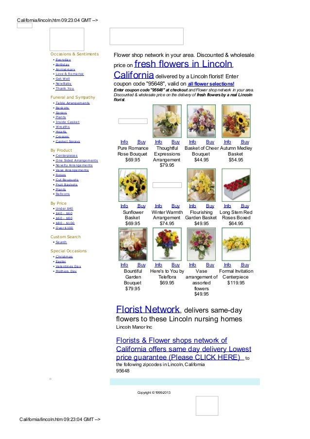 California/lincoln.htm 09:23:04 GMT -->                Occasions & Sentiments          Flower shop network in your area. D...