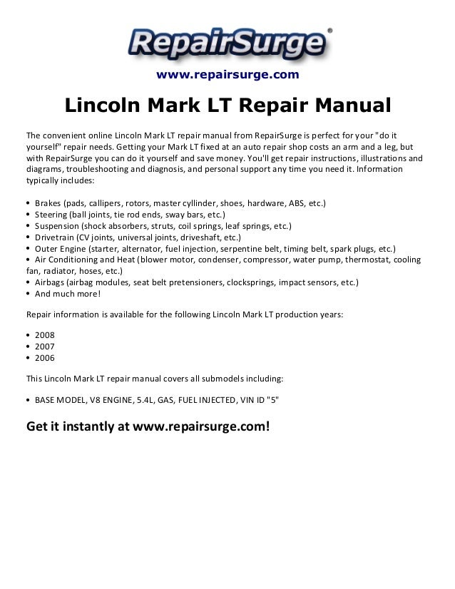 Repairsurge Lincoln Mark Lt Repair Manual The Convenient Online: Lincoln Mark Lt Engine Diagram At Freddryer.co
