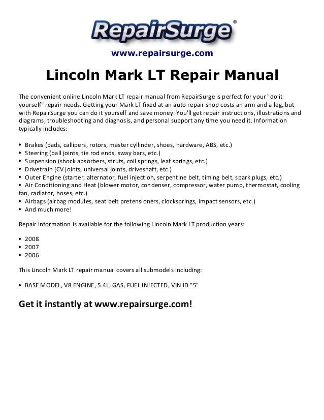 Lincoln Mark Lt Repair Manual 2006 2008