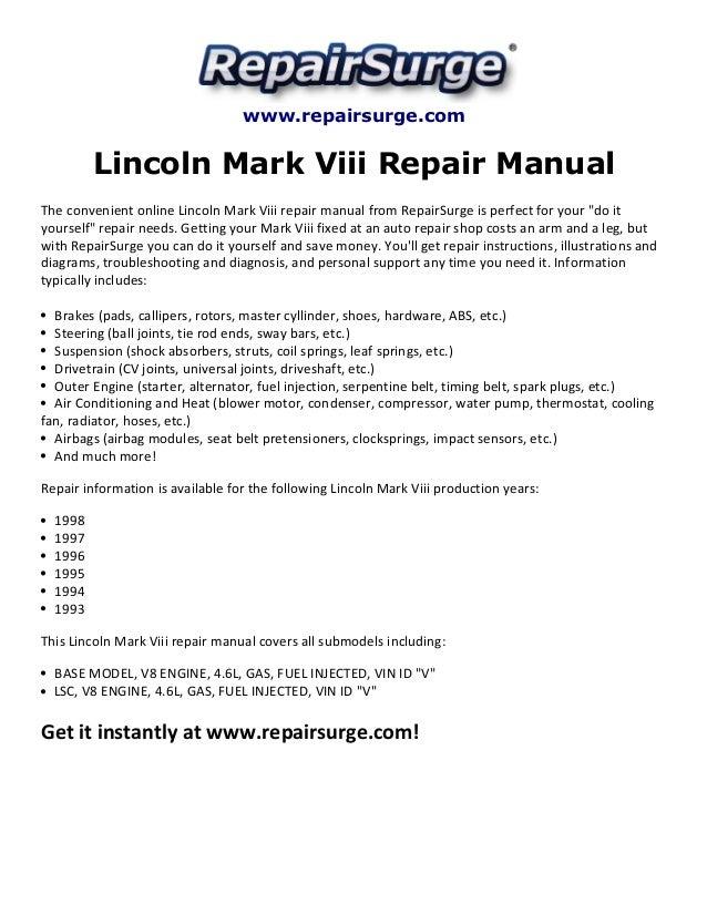 Lincoln Mark Viii Repair Manual 1993-1998SlideShare