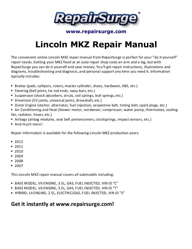 Lincoln Mkz Repair Manual 20072012rhslideshare: 2007 Lincoln Mkx Engine Diagram At Gmaili.net