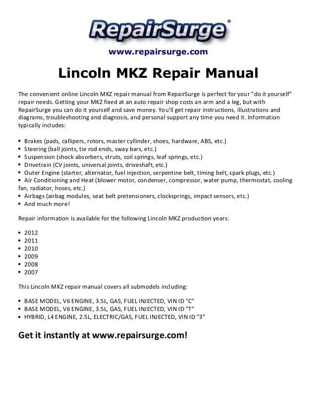lincoln mkz repair manual 2007 2012