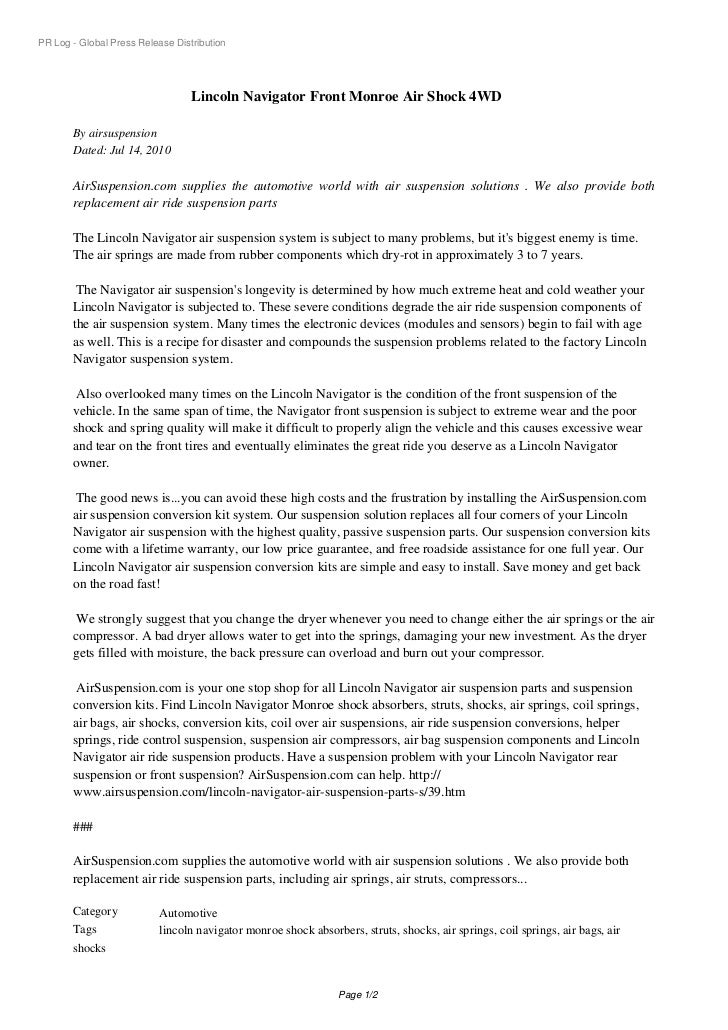 PR Log - Global Press Release Distribution                                  Lincoln Navigator Front Monroe Air Shock 4WD  ...