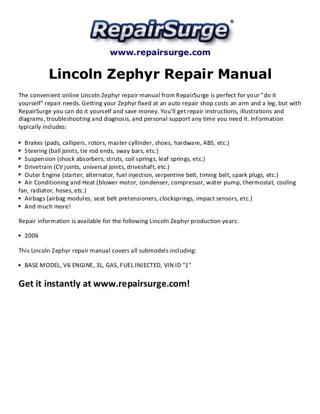 Repairsurge Lincoln Zephyr Repair Manual The Convenient Online: Lincoln Zephyr Alternator Wiring Diagram At Eklablog.co