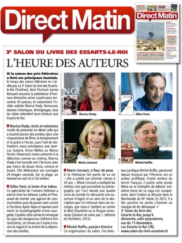 """Article Direct Matin - Marie Lincourt """"Surtout ne viens pas""""."""