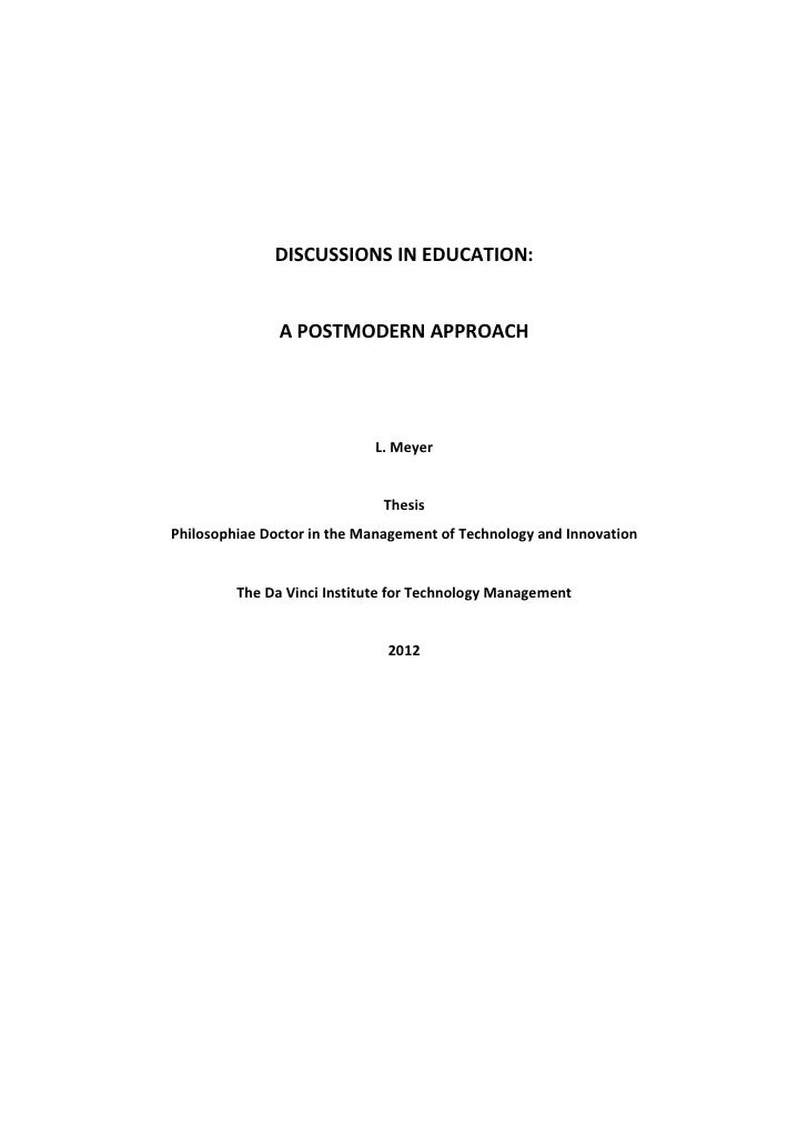 DISCUSSIONS IN EDUCATION:               A POSTMODERN APPROACH                            L. Meyer                         ...
