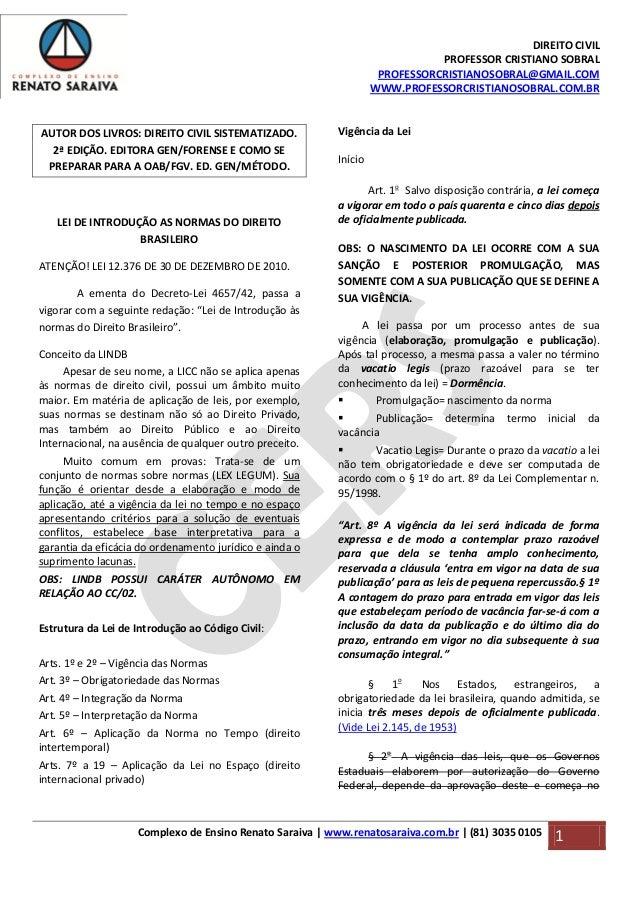 DIREITO CIVIL PROFESSOR CRISTIANO SOBRAL PROFESSORCRISTIANOSOBRAL@GMAIL.COM WWW.PROFESSORCRISTIANOSOBRAL.COM.BR Complexo d...