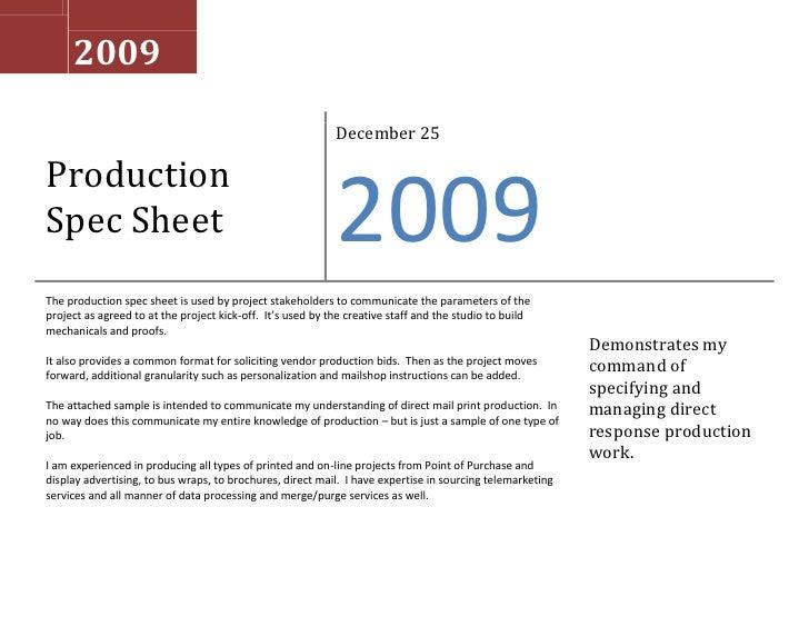 Spec Sheet Samples