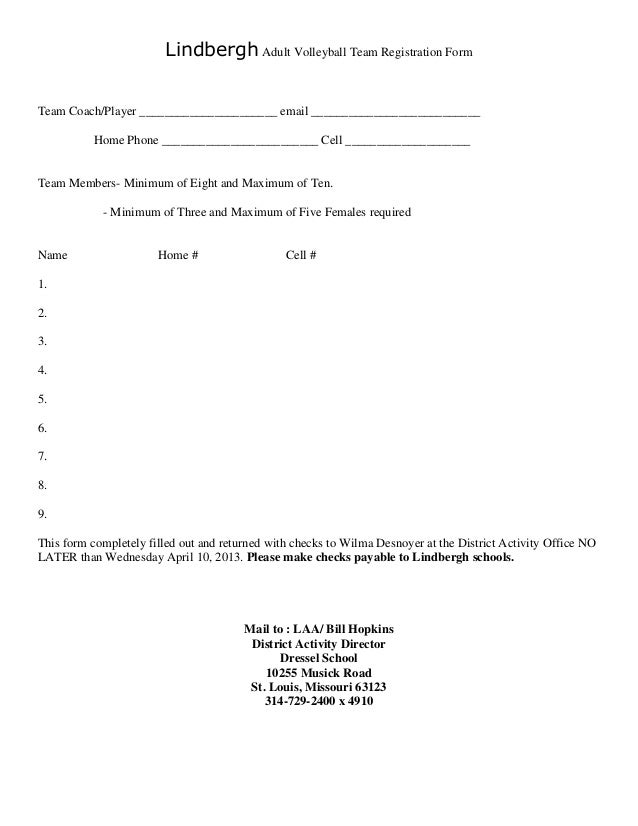 Lindbergh adult volleyball team registration form