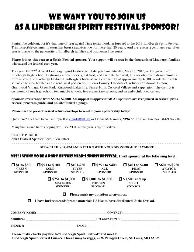 We Want You To Join Us  As a Lindbergh Spirit festival sponsor!It might be cold out, but it's that time of year again! Tim...