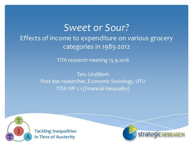 Sweet or Sour? Effects of income to expenditure on various grocery categories in 1985-2012 TITA research meeting 15.9.2016...