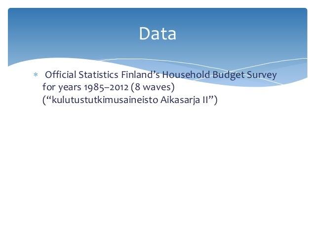""" Official Statistics Finland's Household Budget Survey for years 1985–2012 (8 waves) (""""kulutustutkimusaineisto Aikasarja ..."""
