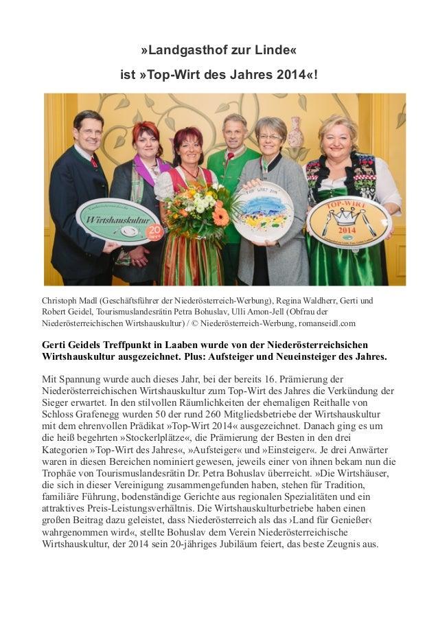 »Landgasthof zur Linde« ist »Top-Wirt des Jahres 2014«!  Christoph Madl (Geschäftsführer der Niederösterreich-Werbung), Re...