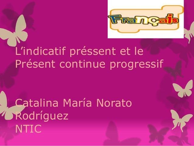 L'indicatif préssent et le Présent continue progressif Catalina María Norato Rodríguez NTIC