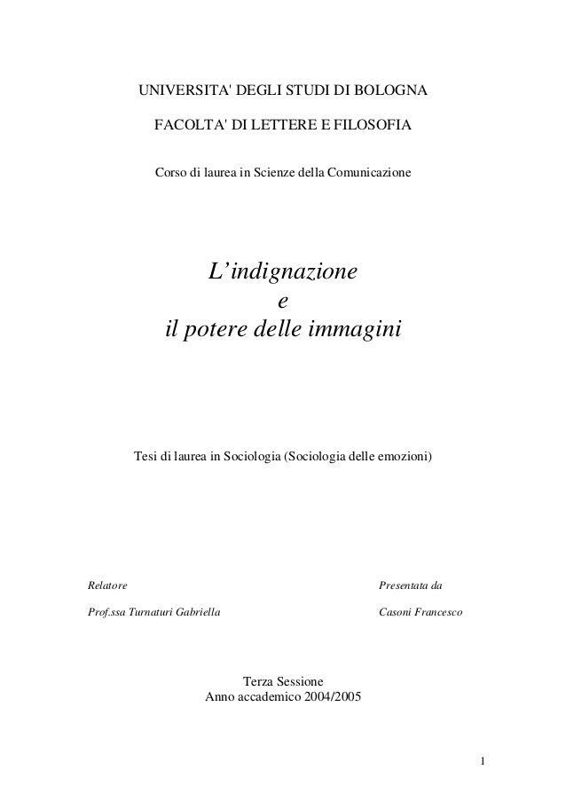 UNIVERSITA DEGLI STUDI DI BOLOGNA              FACOLTA DI LETTERE E FILOSOFIA              Corso di laurea in Scienze dell...