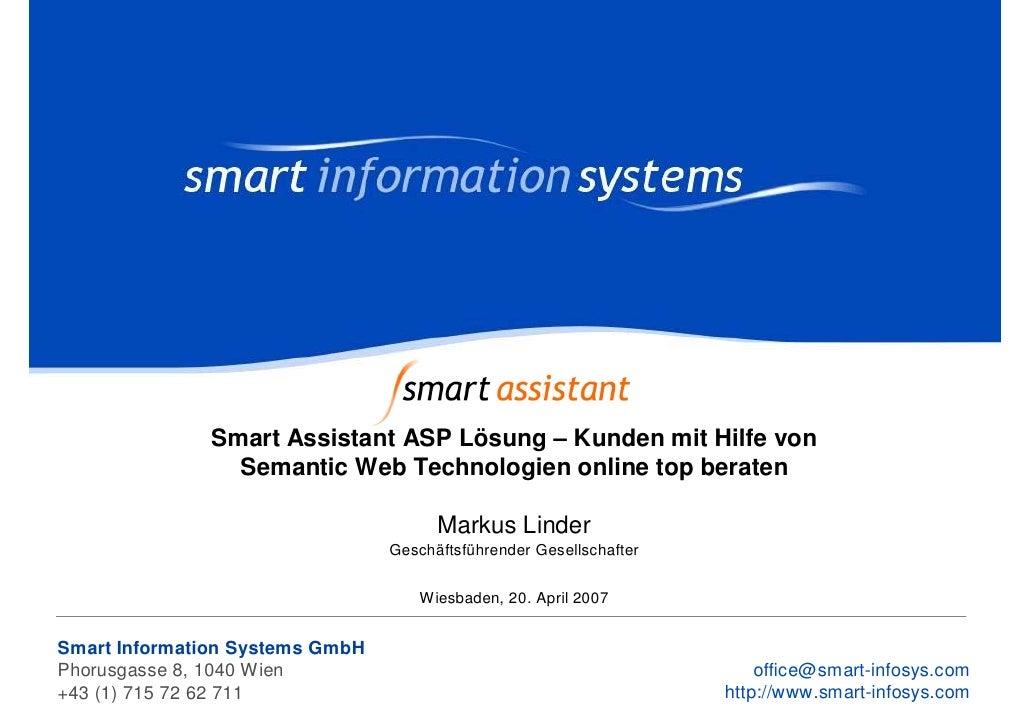 Smart Assistant ASP Lösung – Kunden mit Hilfe von                 Semantic Web Technologien online top beraten            ...