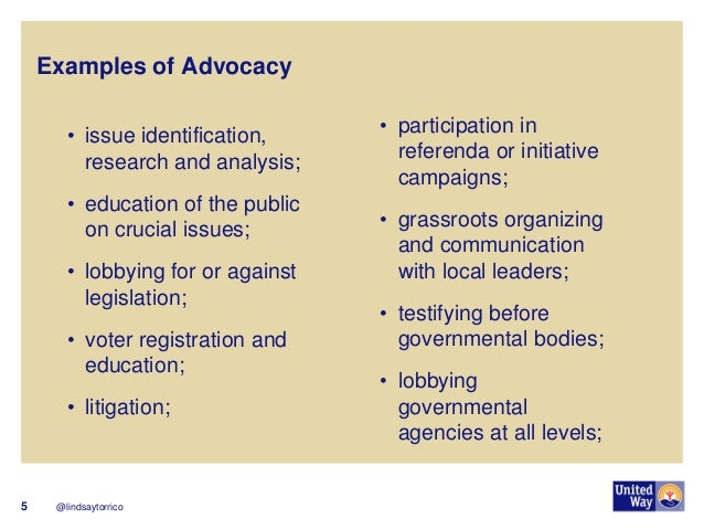 @lindsaytorrico  5  Examples of Advocacy  •issue identification, research and analysis;  •education of the public on cruci...