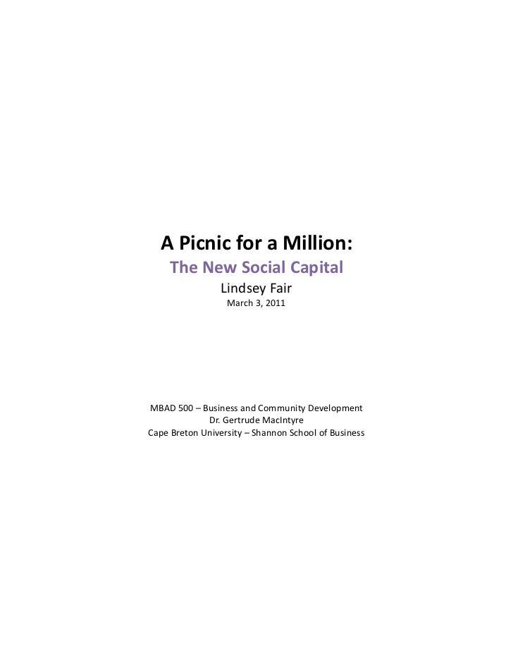A Picnic for a Million:          The New Social Capital                     Lindsey Fair             ...