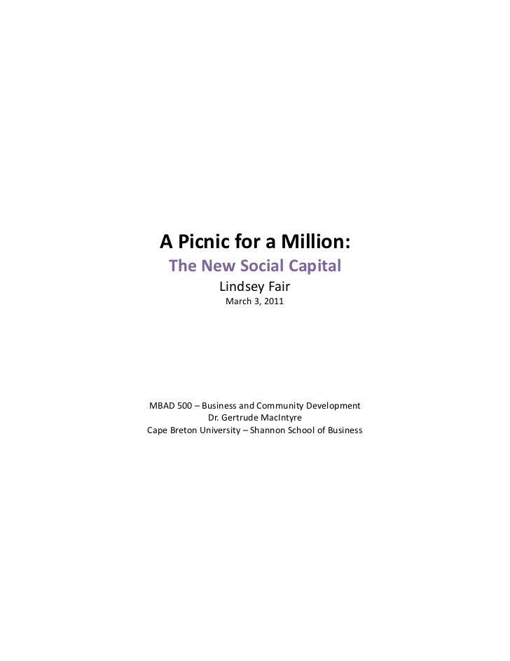 APicnicforaMillion:         TheNewSocialCapital                     LindseyFair            ...