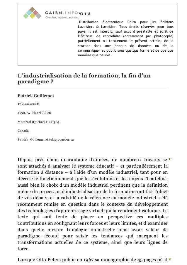 93-118 Distribution électronique Cairn pour les éditions Lavoisier. © Lavoisier. Tous droits réservés pour tous pays. Il e...