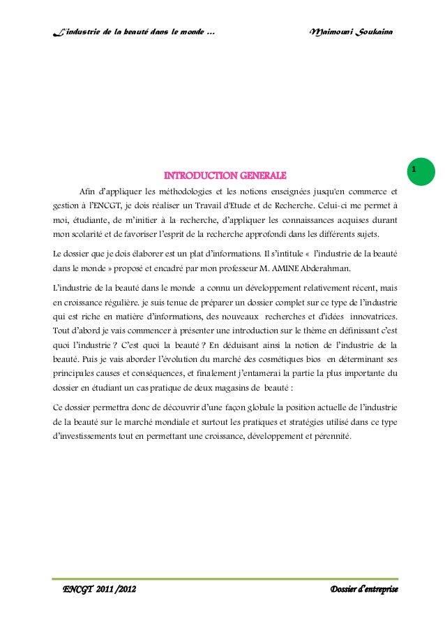 L'industrie de la beauté dans le monde …  Maimouni Soukaina  1  INTRODUCTION GENERALE Afin d'appliquer les méthodologies e...