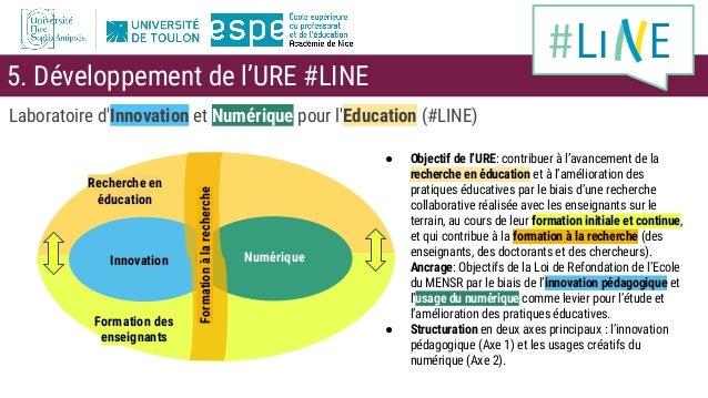 Laboratoire d'Innovation et Numérique pour l'Education (#LINE) ● Objectif de l'URE: contribuer à l'avancement de la recher...