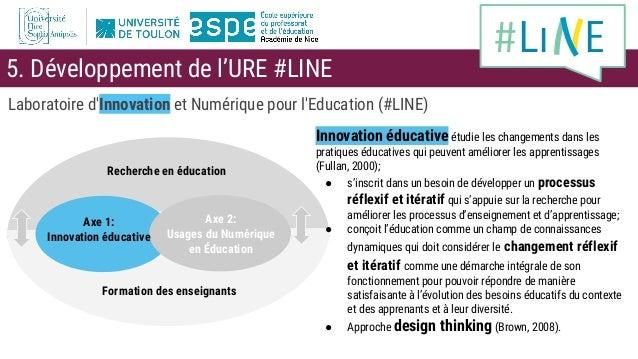 Laboratoire d'Innovation et Numérique pour l'Education (#LINE) Recherche en éducation Formation des enseignants Axe 2: Usa...