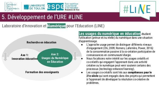 Laboratoire d'Innovation et Numérique pour l'Education (LINE) Recherche en éducation Formation des enseignants Axe 2: Usag...