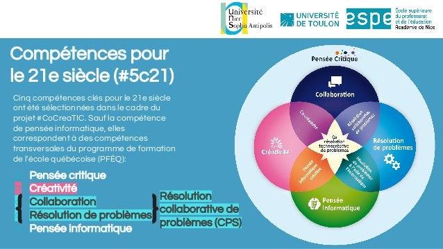 Compétences pour le 21e siècle (#5c21) Cinq compétences clés pour le 21e siècle ont été sélectionnées dans le cadre du pro...