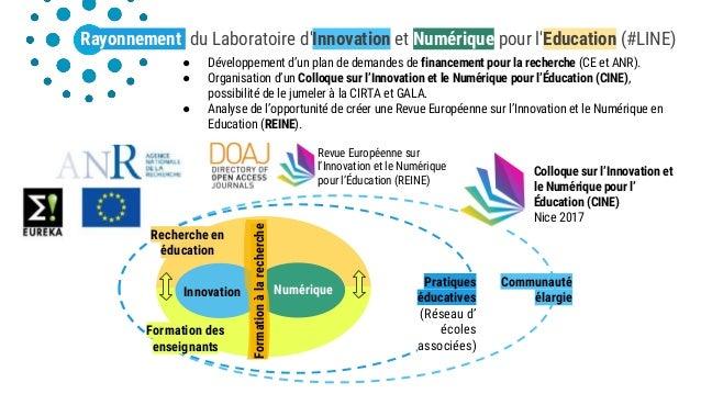Pratiques éducatives (Réseau d' écoles associées) Communauté élargie Rayonnement du Laboratoire d'Innovation et Numérique ...