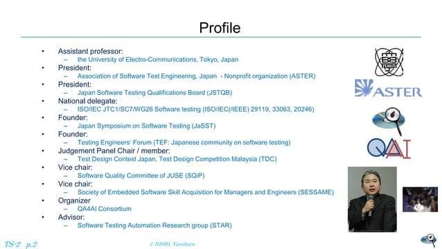 Profile • Assistant professor: – the University of Electro-Communications, Tokyo, Japan • President: – Association of Soft...
