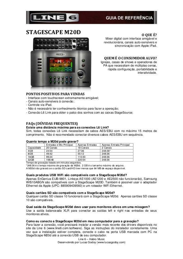 STAGESCAPE M20D O QUE É?Mixer digital com interface amigável erevolucionária, canais auto-sensíveis esincronização com App...