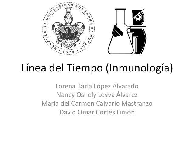 Línea del Tiempo (Inmunología) Lorena Karla López Alvarado Nancy Oshely Leyva Álvarez María del Carmen Calvario Mastranzo ...
