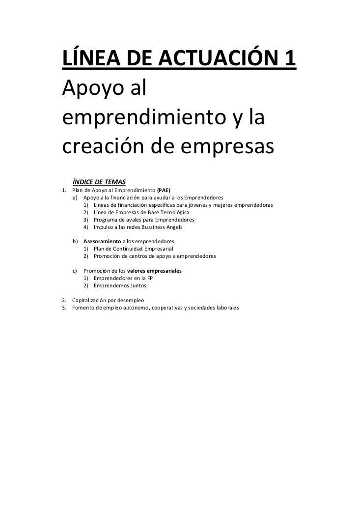 LÍNEADEACTUACIÓN1    Apoyoal    emprendimientoyla    creacióndeempresas        ÍNDICEDETEMAS            ...