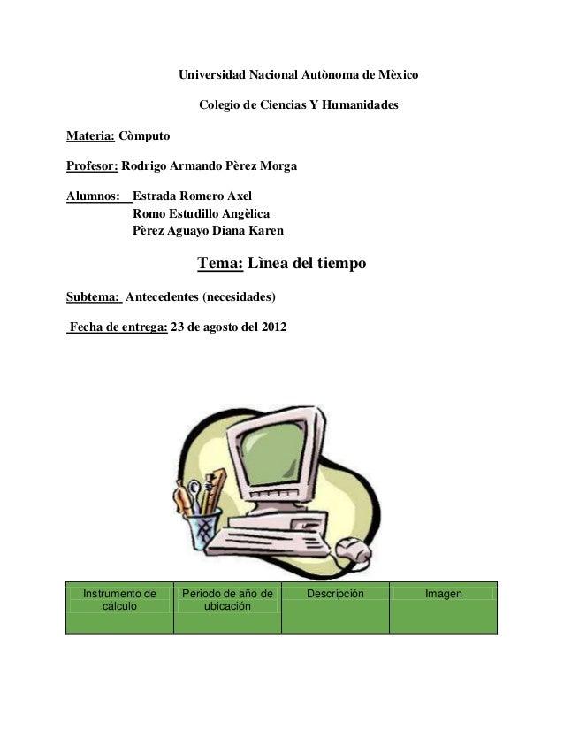 Universidad Nacional Autònoma de Mèxico                       Colegio de Ciencias Y HumanidadesMateria: CòmputoProfesor: R...