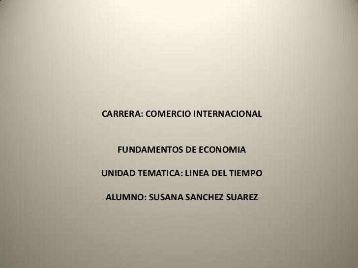 CARRERA: COMERCIO INTERNACIONAL   FUNDAMENTOS DE ECONOMIAUNIDAD TEMATICA: LINEA DEL TIEMPOALUMNO: SUSANA SANCHEZ SUAREZ