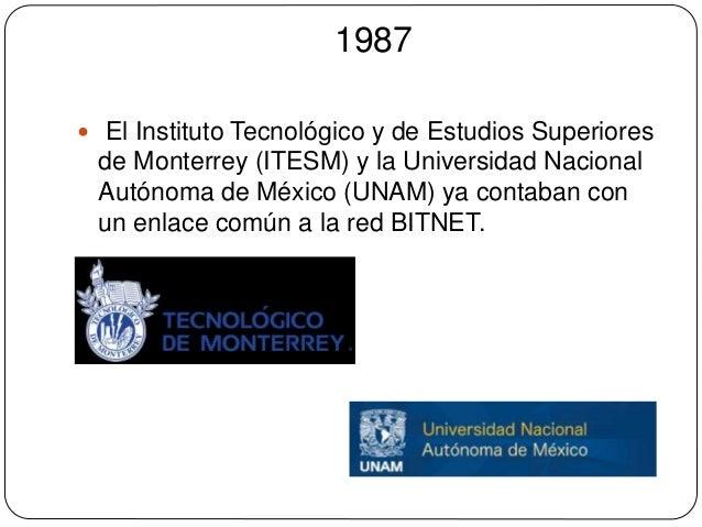 1987   El Instituto Tecnológico y de Estudios Superiores  de Monterrey (ITESM) y la Universidad Nacional  Autónoma de Méx...