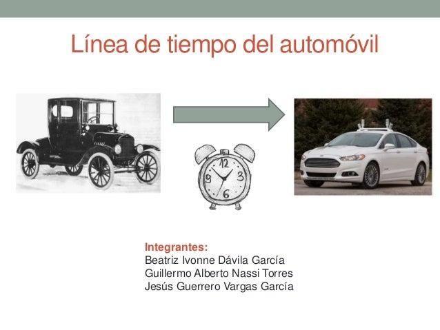 Línea de tiempo del automóvil  Integrantes: Beatriz Ivonne Dávila García Guillermo Alberto Nassi Torres Jesús Guerrero Var...