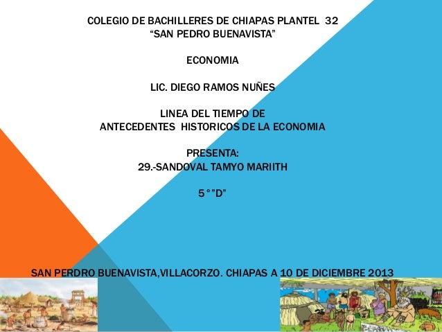 """COLEGIO DE BACHILLERES DE CHIAPAS PLANTEL 32 """"SAN PEDRO BUENAVISTA"""" ECONOMIA LIC. DIEGO RAMOS NUÑES LINEA DEL TIEMPO DE AN..."""