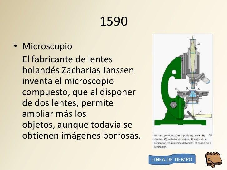 1590 • Microscopio   El fabricante de lentes   holandés Zacharias Janssen   inventa el microscopio   compuesto, que al dis...