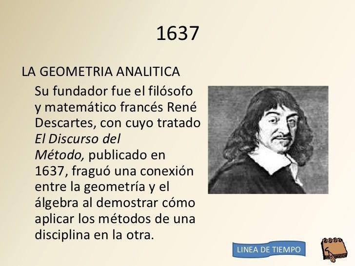 1637 LA GEOMETRIA ANALITICA   Su fundador fue el filósofo   y matemático francés René   Descartes, con cuyo tratado   El D...